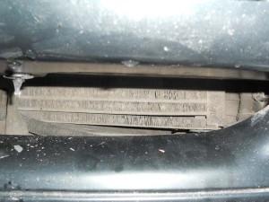 Радиатор кондиционера в окне бампера